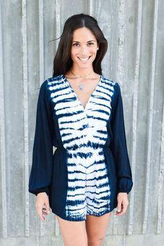 Deep Blue Long Sleeve Tie Dye Romper