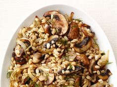 Mushroom Barley - add caramelized onions and mushrooms with a little dill and salt