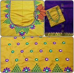 Embroidery Designs Free Download, Simple Embroidery Designs, Embroidery Works, Applique Designs, Hand Embroidery, Machine Embroidery, Blouse Desings, Mirror Work Blouse, Maggam Works