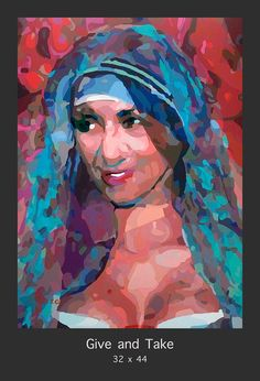 """""""GIVE AND TAKE"""" the latest painting in the series """"Shades of Purple"""" from artist Donald-Rizzo. This new work Juxtaposes Mother Teresa known for giving freely to the world to help others in need, with her missions of charity and Kim Kardashian known for creating and taking all the publicity she can get for her own personal gain. See the entire series. http://donald-rizzo.com/gallery/shades-of-purple/"""