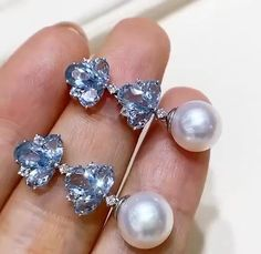 Aquamarine Jewelry, Pearl Jewelry, Indian Jewelry, Diamond Jewelry, Jewelery, Vintage Jewelry, Fine Jewelry, Pearl Earrings, Drop Earrings
