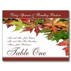 Fall Wedding Table Place Cards Autumn Leaves #TableNumbers #Fall #Autumn