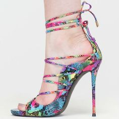 Snakeskin Textured Lace-Up Heels