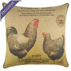"Burlap pillow with a chickens and postage stamp motif. Handmade in the USA.  Product: PillowConstruction Material: Burlap coverColor: Red, beige and yellowFeatures:  Handmade by TheWatsonShopZipper enclosureMade in the USAInsert included Dimensions: 16"" x 16""Cleaning and Care: Spot clean"