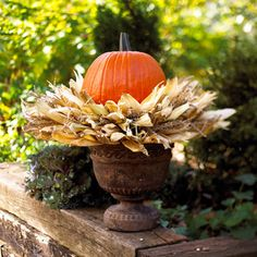 hot-glue corn husks to a straw wreath form, along the top, bottom, & sides so that the ends of husks point out. stick sprigs of ornamental grasses into the form to fill in gaps. set the wreath on top of a garden urn & nestle a pumpkin in wreath