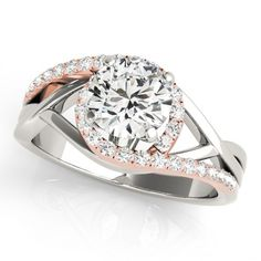 Bypass Style - Engagement Rings. Rose gold and White gold.