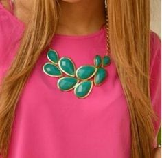 Teal and hot pink