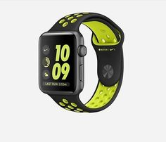 Apple Watch Nike (Series -Space Gray Aluminum Case with Black/Volt Nike Sport Band Buy Apple Watch, Apple Watch Nike, Apple Watch Iphone, Apple Watch 42mm, Apple Watch Series 2, Smartwatch, Sport Watches, Watches For Men, Men's Watches