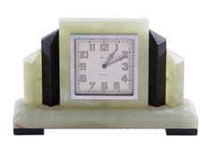 Asprey Art Deco onyx and slate clock Lot 1243