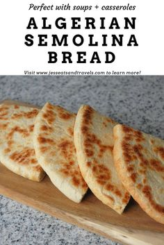 Algerian semolina bread is perfect served up with casseroles or simply served warm with butter. The super crispy crust will have you coming back for more! Flour Recipes, Pastry Recipes, Vegan Recipes, Cooking Recipes, Amish Recipes, Dutch Recipes, Vegan Meals, Cooking Tips, Dessert Recipes