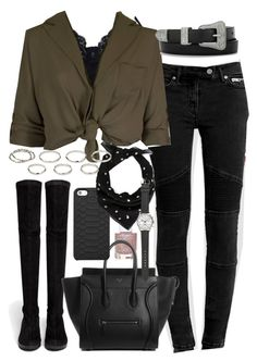 """Outfit for autumn with a khaki top"" by ferned ❤ liked on Polyvore featuring Monki, AllSaints, Yves Saint Laurent, Robert Clergerie, Topshop, GiGi New York, Akira and J.Crew"