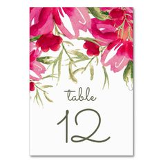 Romantic Watercolor Flower Painting Design Personalized Wedding Table Number Cards. Matching Wedding Invitations, Bridal Shower Invitations, Save the Date Cards, Wedding Postage Stamps, Bridesmaid To Be Request Cards, Thank You Cards and other Wedding Stationery and Wedding Gift Products available in the Floral Design Category of the Best Day Ever store at zazzle.com