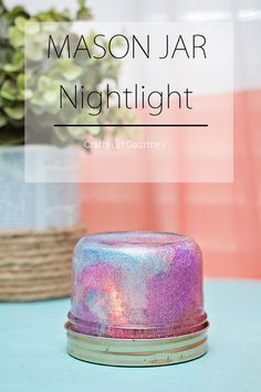 This DIY mason jar night light can be made on a budget - and your kids can help. The glitter is so sparkly and fun!