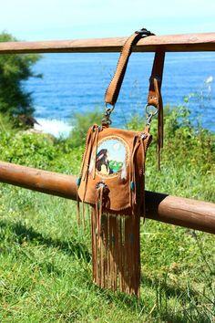 Free Spirit; embroidered suede fringe bag