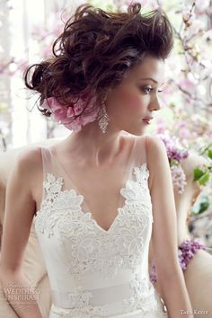 tara keely bridal fall 2013 fit flare wedding dress elongated lace illusion v neck ribbon belt style 2352 close up