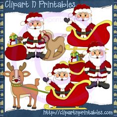 Santa Claus 2012-2 - #Clipart #ResellableClipart #ResellerClipart #Christmas #Santa #SantaClaus #Gifts #Presents #Toys #Reindeer #Sled #Sleigh #RockingHorse
