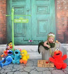 Oscar the Grouch Sesame Street I love trash Sesame Street characters newborn session Sesame Street newborn session baby boy newborn session baby boy photography https://m.facebook.com/I-Love-Unique-Photography-1505109513066387/