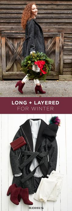 When long coats are this cute, bring on the cold. We love the contrast of the black and gray coat over white pants (yes, you can wear them in winter!) with coordinating pops of ruby red. Shop the winter outerwear look at Kohl's.