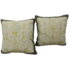Pair of Fortuny Style Green Pillows