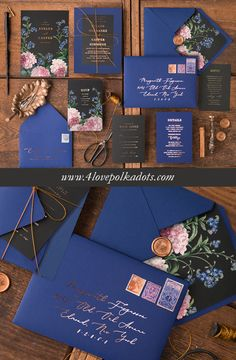 Wedding color scheme featuring navy blue, black and gold with glamorous floral printing make your wedding invitations special! If you have chosen this theme, your wedding is gonna be very elegant #wedding #ideas
