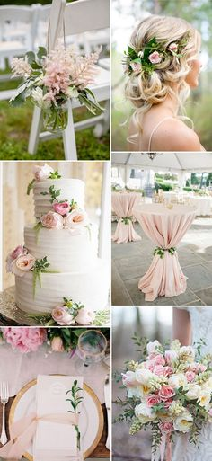Top 5 greenery wedding color combos for 2017 spring trends Elegant wedding colors ideas in blush and Wedding Centerpieces, Wedding Table, Wedding Bouquets, Wedding Flowers, Wedding Decorations, Blush Weddings, White Weddings, Wedding Cakes, Rustic Weddings