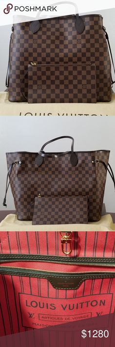 Louis Vuitton Neverful GM 10/10 The interior is clean as well, no stain. I always use my bag organizer to keep this baby clean and well organized  No scratches/ No cracks Comes with Neverful GM, dust bag, Box, paper bag, and pouch I only use this bag when I travel.  Please let me know if you have any questions.  NO TRADE PLEASE! Louis Vuitton Bags Shoulder Bags