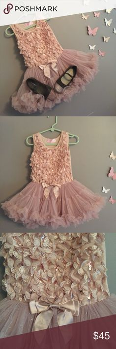 Beautiful tutu dress with matching shoes Tan/Dusty Rose Pink tutu dress size small with matching shoes size 8. Dress should fit from 24mos  to 3T. Dress is Popatu and shoes are Carters Popatu Dresses