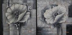 Schilderij : Bloemen Nacht (2-luik), een bloem schilderij waarbij er uitsluitend gebruik is gemaakt van de kleuren zwart en wit. Hierdoor heeft het een somber karakter.