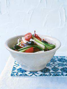 tomato, olive and feta salad
