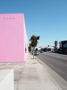 Paul Smith store pink wall in Melrose, Los Angeles, California.