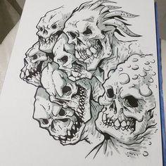 #monster #demon #skull #sketch #draw #drawing #creature #head #paper