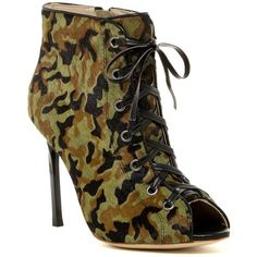 Cecelia Dash Camo Genuine Calf Hair Bootie ($175) ❤ liked on Polyvore featuring shoes, boots, ankle booties, camo, open toe bootie, open toe ankle boots, lace up boots, lace up bootie and camo boots