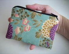 Little Zipper pouch Coin Purse Gadget Case Padded  Rare Cotton Lawn Orchid Sakura on Aqua by JPATPURSES, $9.00