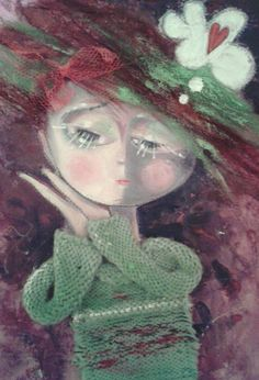 Artist ~ Cheryl Jayne Porter ~ lady in green sweater, in love!