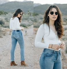 Tonya S. - Revice Milf Jeans, Free People Cecile Ankle Boot, Pylo Button Basic - Denim and Boots