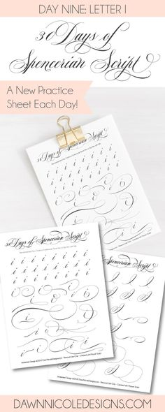 Spencerian Script Style: Letter I Worksheets. This post is part of the 30 Days of #SpencerianScript Style Worksheets series. I'm posting a new free Spencerian Style Practice Worksheet every day for thirty days! #calligraphy #brushlettering #brushcalligraphy
