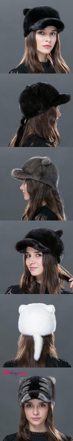 a874866e224 Genuine Mink Fur Hats Small Tiger Hat Winter Lovely Hedging Cap With Tail  Women Fur Outdoor Caps Headwear Tampas