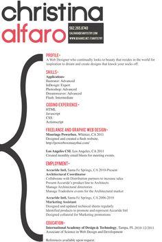 Resume by Christina Alfaro, via Behance