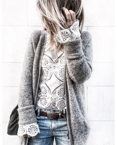 Lace top with gray cardigan Fashion Outfit Street Style Look Clothes Inspiration