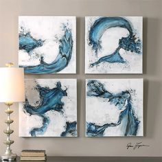 Uttermost Swirls In Blue Abstract Art, S/4