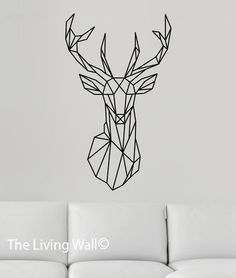 Deer Head Wall Decal, Geometric Deer Decals, Deer Head Home Decor Wall Decals…