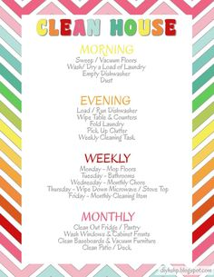 """diy home sweet home: Clean House """"Quick Guide"""" - Ultimate Life Planning System"""