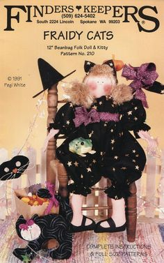 """Finders Keepers Fraidy Cats 12"""" Beanbag Doll &Kitty Halloween Witch Black Cat Whimsical Unused 1991 Craft Sewing Pattern Pegi White by LanetzLiving on Etsy"""