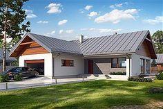 Projekt domu Endo 113,29 m2 - koszt budowy - EXTRADOM Metal Roof Houses, House Roof, Exterior House Colors, Exterior Design, Small Contemporary House Plans, One Storey House, My House Plans, Roof Colors, Beautiful Space
