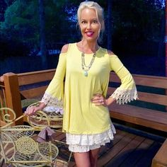 Sunny yellow crochet detail tunic👠 Cold shoulder swing tunic with scoop neck and bell sleeves with crochet detail! Tops Tunics
