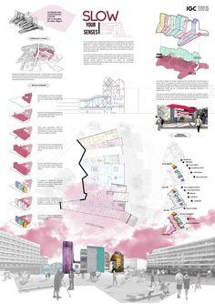 impaginazione tavole di concorso: confronto tra due tavole di architettura