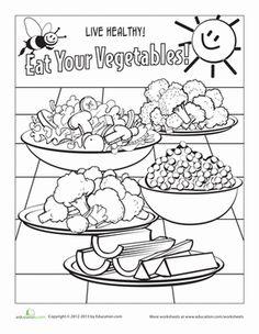 Kindergarten Coloring Life Learning Worksheets: Vegetable Coloring Page
