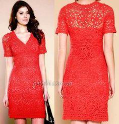 Красивое платье из мотивов крючком. Схемы вязания