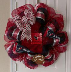 Houston Texans Deco Mesh Wreath. $80.00, via Etsy.