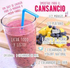 Jugo / smoothie para el cansancio, lo puedes tomar a media tarde o en desayuno :)